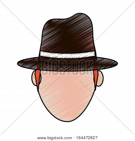color pencil silhouette front view faceless explorer man with hat vector illustration