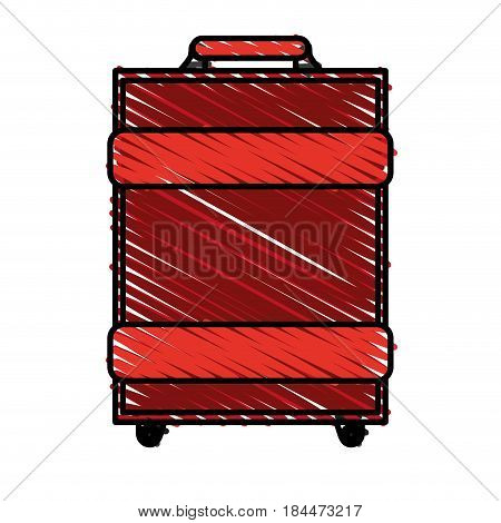 color crayon stripe image travel baggage with handle vector illustration