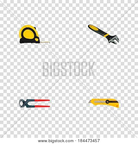 Realistic Wrench, Length Roulette, Stationery Knife And Other Vector Elements. Set Of Construction Realistic Symbols Also Includes Tool, Spanner, Stationery Objects.