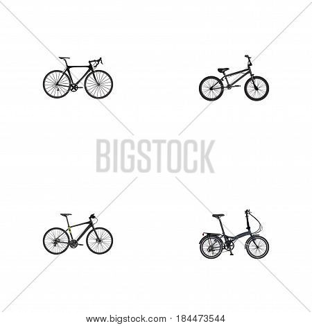 Realistic Folding Sport-Cycle, Hybrid Velocipede, Exercise Riding And Other Vector Elements. Set Of Bike Realistic Symbols Also Includes Bike, Extreme, Bmx Objects.