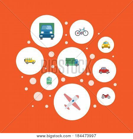 Flat Truck, Metro, Car And Other Vector Elements. Set Of Machine Flat Symbols Also Includes Subway, Car, Freight Objects.