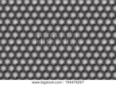 Hexagonal Seamless Pattern. Greyscale. Industrial Texture, Vector.