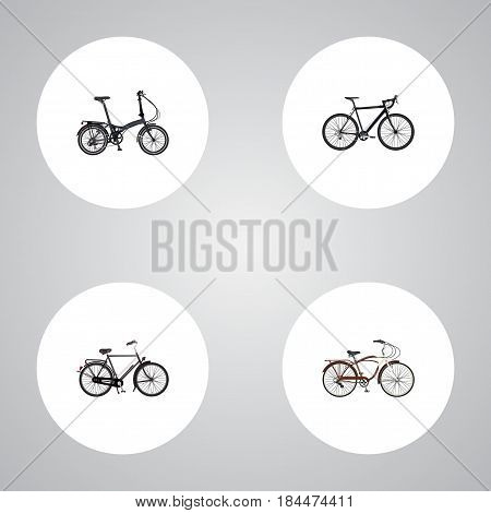 Realistic Training Vehicle, Journey Bike, Cyclocross Drive And Other Vector Elements. Set Of Bicycle Realistic Symbols Also Includes Cruise, Bike, Cyclocross Objects.