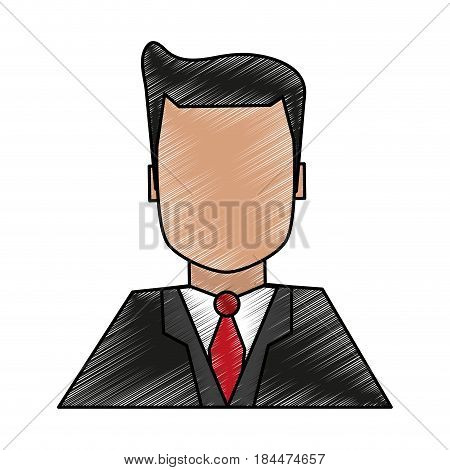 color pencil image half body faceless man with executive suit vector illustration