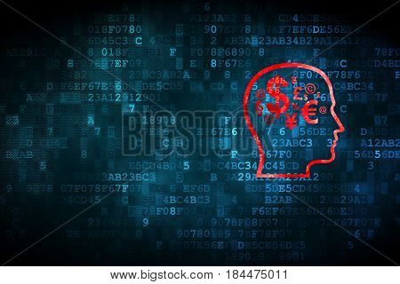 Marketing concept: pixelated Head With Finance Symbol icon on digital background, empty copyspace for card, text, advertising