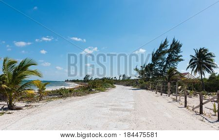 The beach road in Mahahual, Quintana Roo, Mexico
