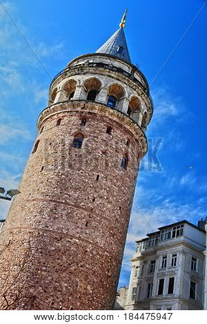 Galata Tower In The Galata Quarter Of Istanbul, Turkey