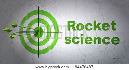 Success Science concept: arrows hitting the center of target, Green Rocket Science on wall background, 3D rendering
