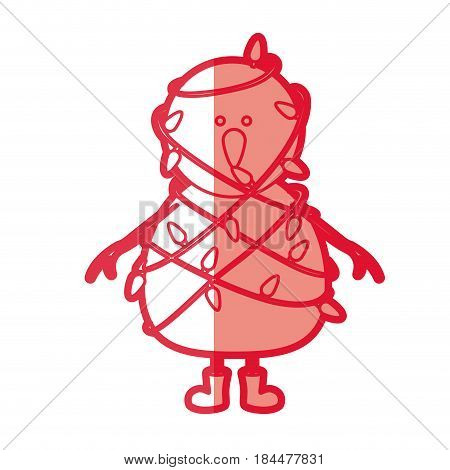 red silhouette of snowman with boots and tangled in cord lights christmas vector illustration