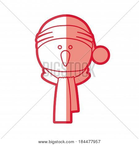 red silhouette of snowman face with scarf and christmas hat vector illustration