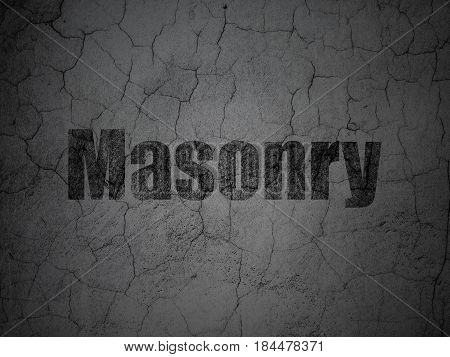 Constructing concept: Black Masonry on grunge textured concrete wall background