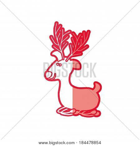 red silhouette caricature of funny reindeer lazy vector illustration