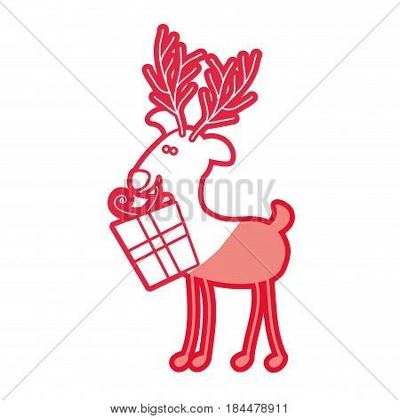 red silhouette caricature of reindeer with gift box vector illustration