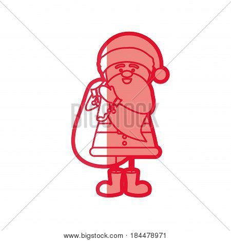 red silhouette caricature of santa claus with gift bag vector illustration