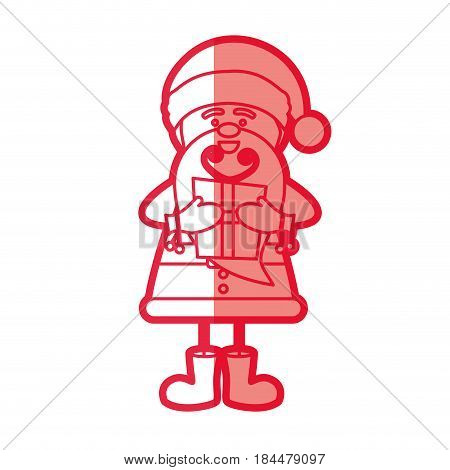 red silhouette caricature of santa claus with gift box vector illustration