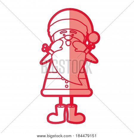 red silhouette caricature of santa claus screaming vector illustration