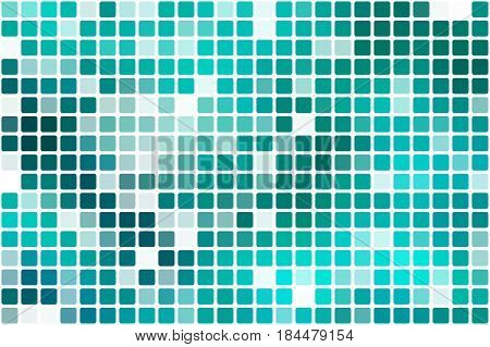 Turquoise green occasional opacity square tiles mosaic over white background