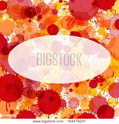 Bright red and orange artistic watercolor paint drops background. Greeting card or invitation template with semi-transparent ellipse frame for text
