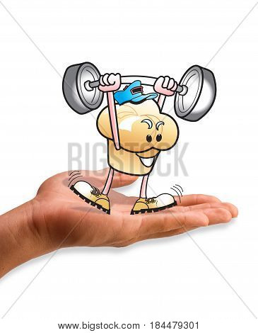 Muffin Man lifting weight in palm of hand.
