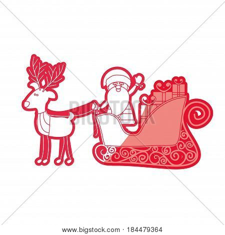red silhouette caricature reindeer with santa claus in sleigh with gifts vector illustration