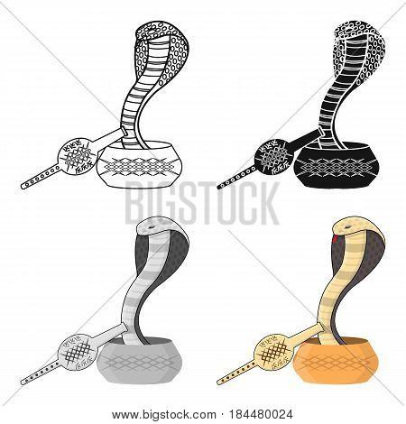 Snake and pungi icon in cartoon style isolated on white background. India symbol vector illustration.