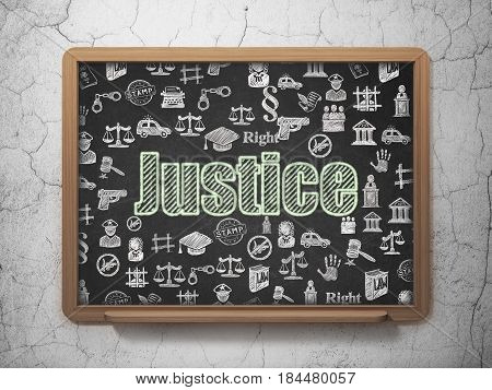 Law concept: Chalk Green text Justice on School board background with  Hand Drawn Law Icons, 3D Rendering