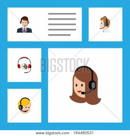 Flat Call Set Of Call Center, Service, Hotline And Other Vector Objects. Also Includes Center, Telemarketing, Earphone Elements.