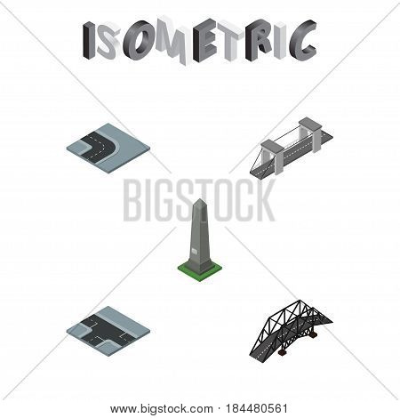 Isometric Architecture Set Of Crossroad, Highway, Expressway And Other Vector Objects. Also Includes Washington, Turn, Bridge Elements.