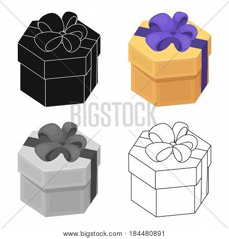 A yellow festive gift in a purple ribbon.Gifts and Certificates single icon in cartoon style vector symbol stock web illustration.