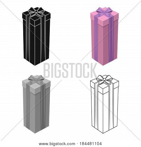 A high gift box, for a high and narrow gift.Gifts and Certificates single icon in cartoon style vector symbol stock web illustration.