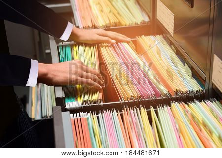 File folders in a filing cabinetFor document storage