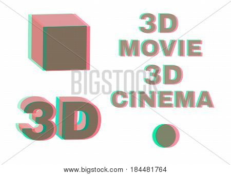 Stereoscopic objects and words: 3d movie, cinema. No transparency stereo effect. Isolated on white. Vector illustration