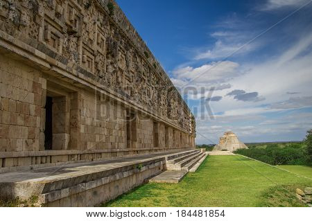 Uxmal Ancient Maya Architecture Archeological Site In Yucatan Mexico