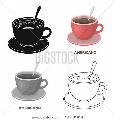 Coffee cup americano.Different types of coffee single icon in cartoon style vector symbol stock illustration .