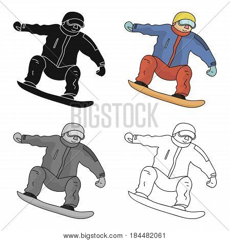 The athlete with the blue jacket and red pants on a snowboard.Snowboarder at the Olympics.Olympic sports single icon in cartoon style vector symbol stock web illustration.
