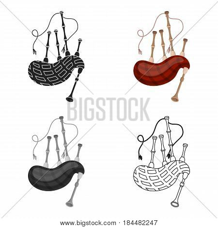 Bagpipes icon in cartoon style isolated on white background. Musical instruments symbol vector illustration