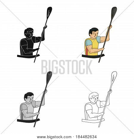 Rower in a boat with a paddle in hand down to the baydak on the wild river.Olympic sports single icon in cartoon style vector symbol stock web illustration.