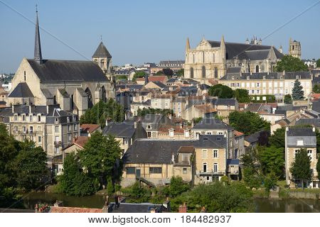 POITIERS, FRANCE - JUNE 26, 2013: View to the city and Clain river from the Cornet street. The city is the capital of the Vienne department and also of the Poitou province