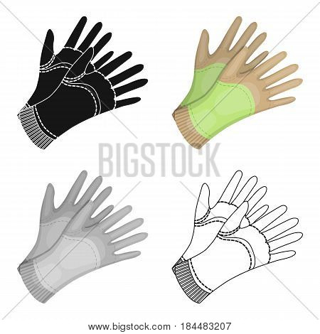 Garden gloves to work with the land in the garden. Protective gardener clothing.Farm and gardening single icon in cartoon style vector symbol stock web illustration.