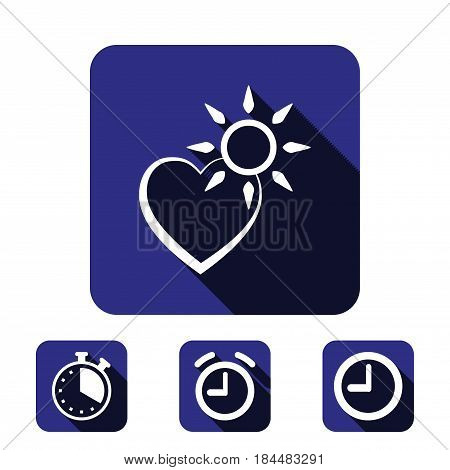 heart and the sun icon stock vector illustration flat design