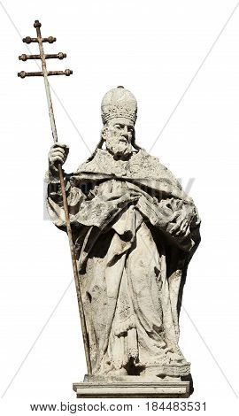 Pope Sylvester I statue from Saint Sylvester church in Rome and made in 18th century (isolated on white bakground)