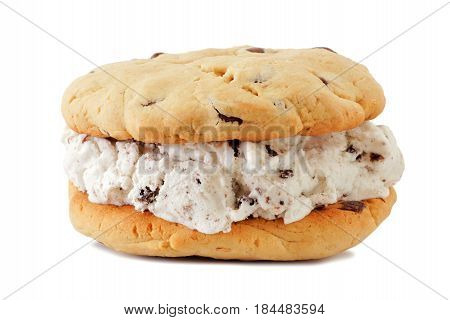 Single Ice Cream Sandwich With Homemade Cookies Isolated On A White Background