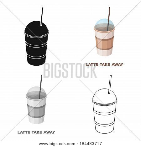 Latte for take-away.Different types of coffee single icon in cartoon style vector symbol stock illustration .