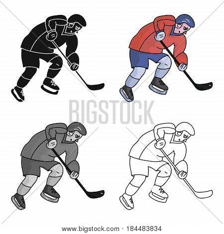 Hockey player in full gear with a stick playing hockey.Winter Olympic sport.Olympic sports single icon in cartoon style vector symbol stock web illustration.