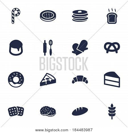 Set Of 16 Oven Icons Set.Collection Of Potholders, Wafer, Shortcake And Other Elements.