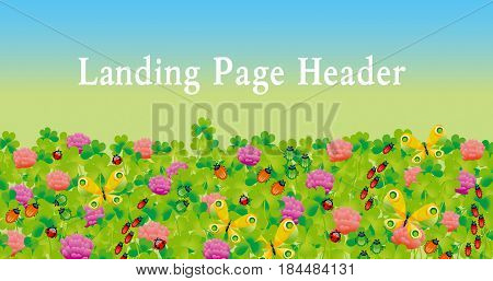 flower and bugs header. clover and butterfly vector illustration. landing page header.