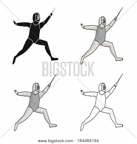 The athlete outfit with a sword.Fencing competitions .Olympic sports single icon in cartoon style vector symbol stock web illustration.