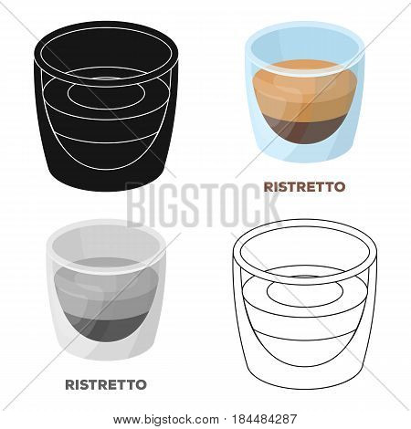Ristretto glass.Different types of coffee single icon in cartoon style vector symbol stock illustration .