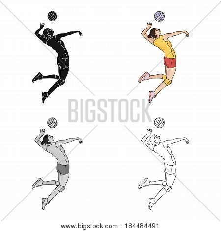 High athlete plays volleyball.The player throws the ball in.Olympic sports single icon in cartoon style vector symbol stock web illustration.