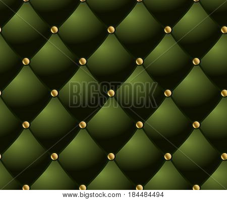 classic lounge couch pattern. green quilted background.